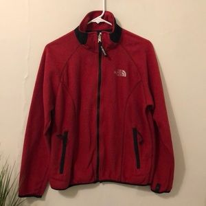 The North Face red fleece
